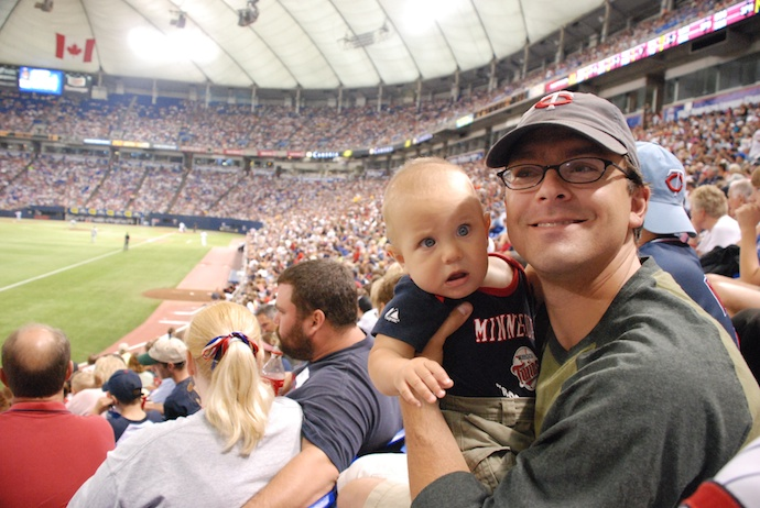 The boy's first Twins game.