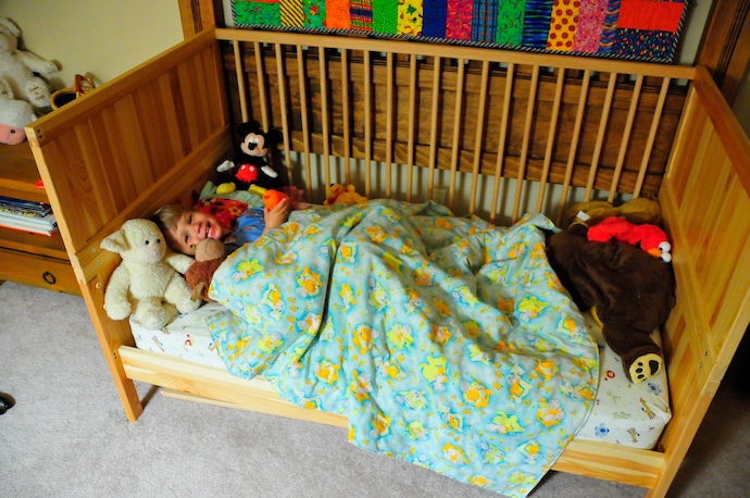 Tory's crib converted into a 'big bed'