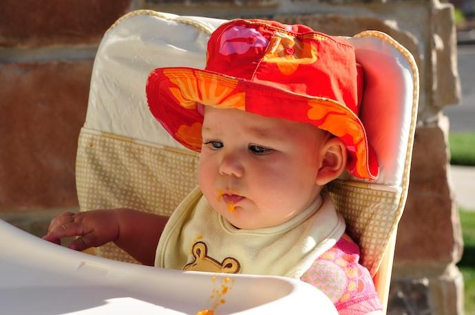 Tegan eats solid food