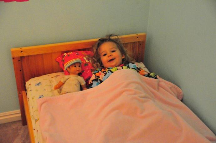 Tegan gets a big girl bed