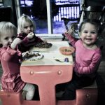 Riley, Aspen, and Tegan at the little table.