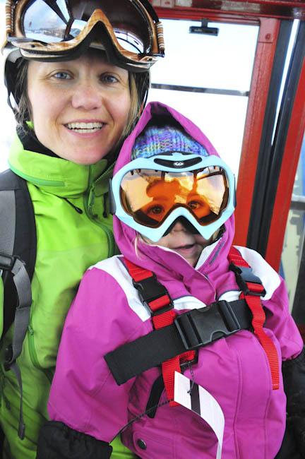 Tegan's first ski