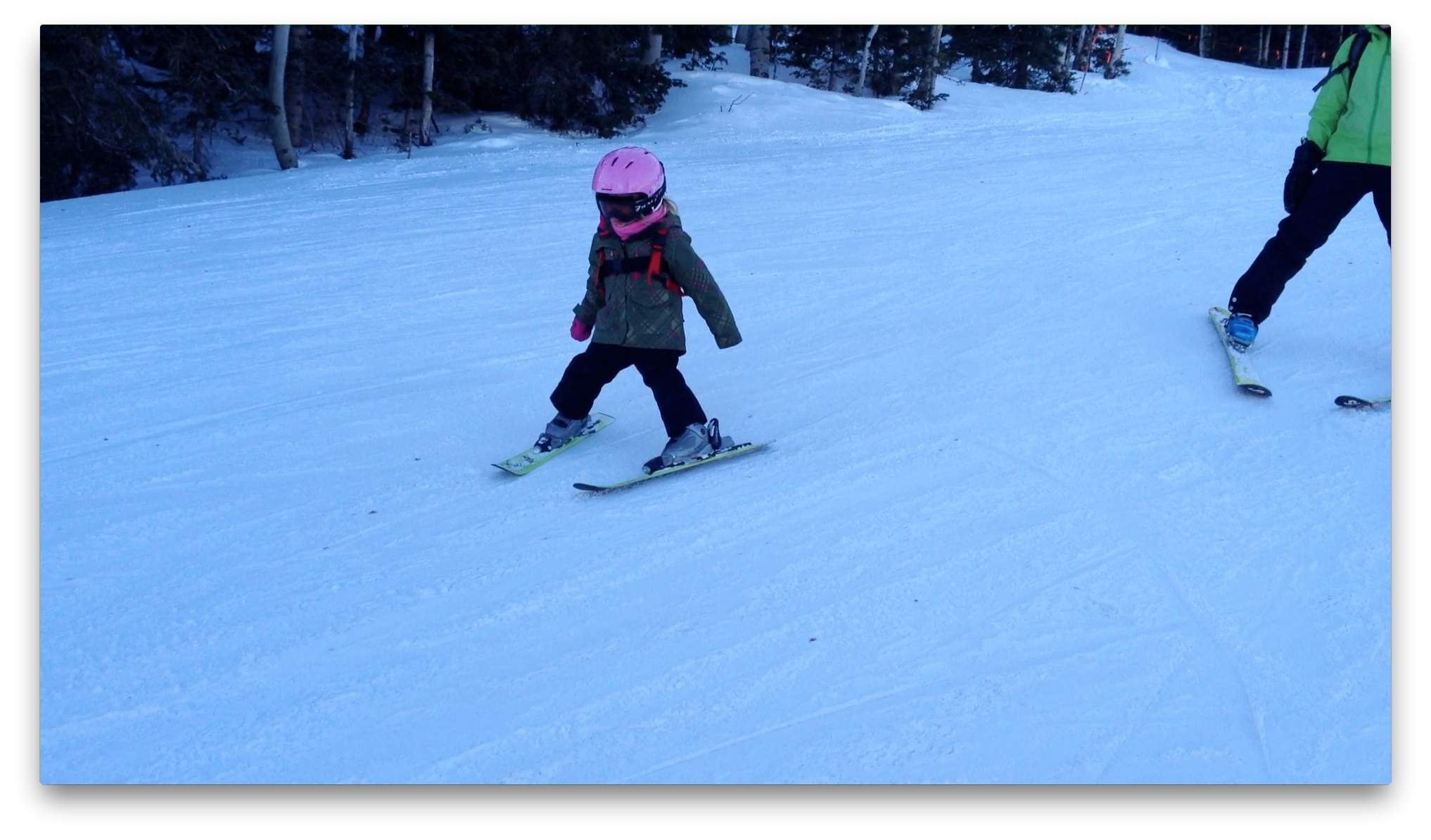 Tegan skis by herself