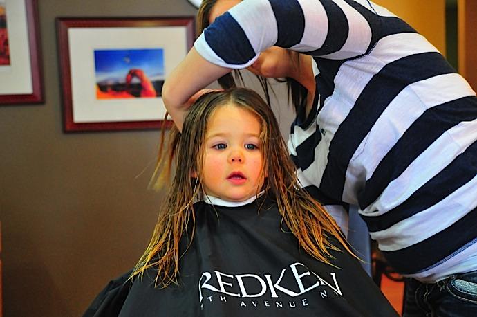 Tegan's first haircut